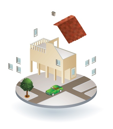 Vector isometric view of a country house Stock Vector - 17148163