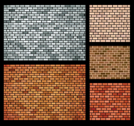 encasement: Vector background of bricks of different colors Illustration
