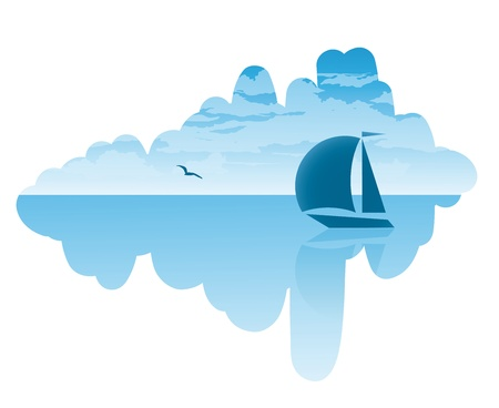 Vector seascape on summer journey to the ship, clouds and a seagull Stock Vector - 17147892