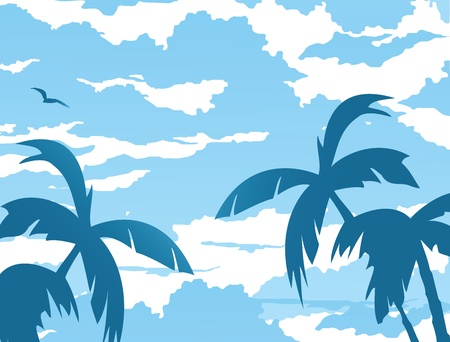 Vector background of clouds and palm trees with gull Stock Vector - 17147903