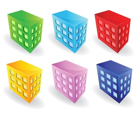 building activity: Isometric vector images urban houses of different colors  Can be used as icons