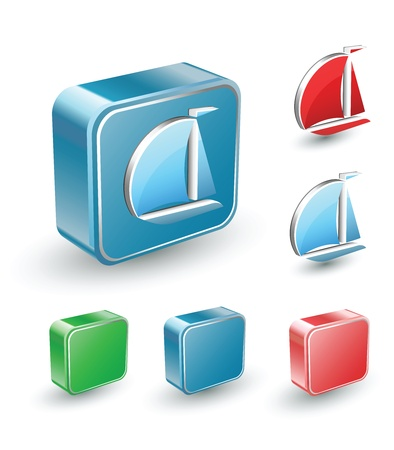 barque: Vector set of isometric computer buttons in different colors on a white background