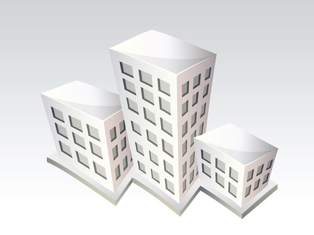 cartoon building: Isometric buildings vector icons on white background