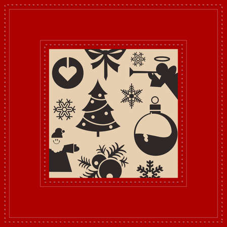 Festive Christmas postcard vector and red colors Stock Vector - 17147934
