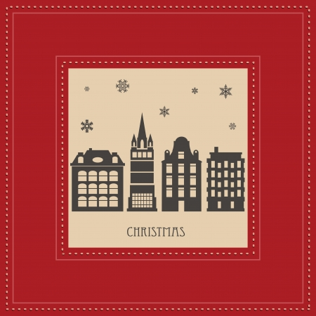 Vector Christmas card with a picture of the city in red Vector