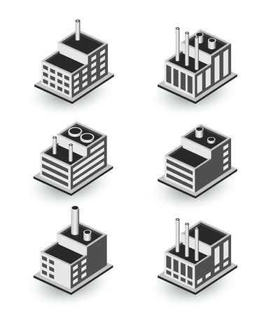 A set of urban and industrial buildings in the isometric Stock Vector - 17147915