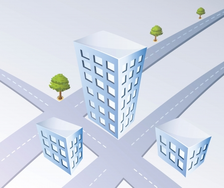 Isometric projection of the city road and trees Vector