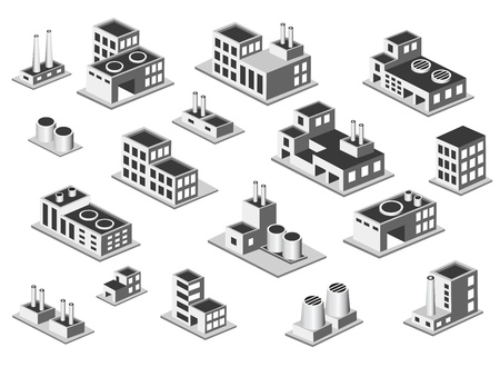 Vector isometric icon set factory production buildings on white background