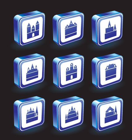 Vector icons on the theme of the city in blue not black background Vector