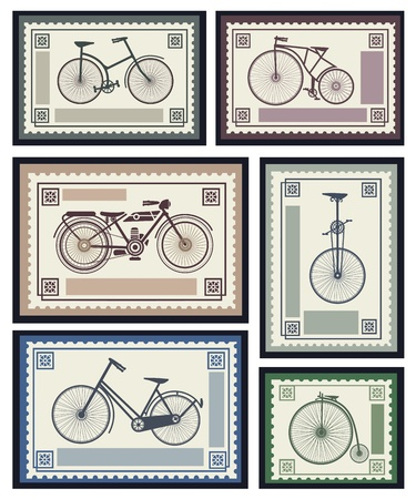 Vector set of postage stamps in the transport theme Vector