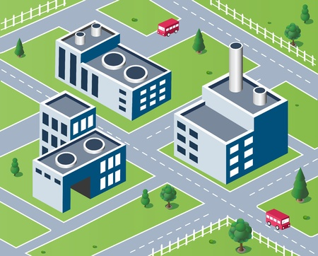 Vector isometric view of the industrial district Stock Vector - 17147931