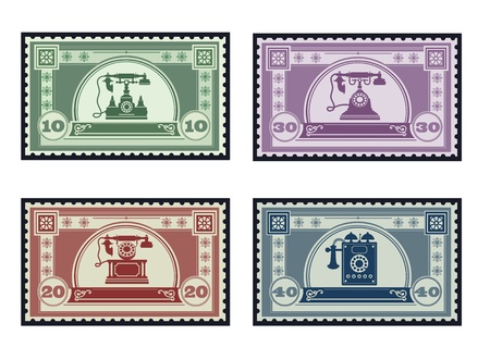 telephony: Set of old postage stamps on the theme of communication and telephony