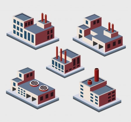 A set of urban and industrial buildings in the isometric Stock Vector - 17147918