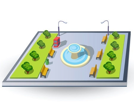 Isometric piece of urban landscape with a fountain