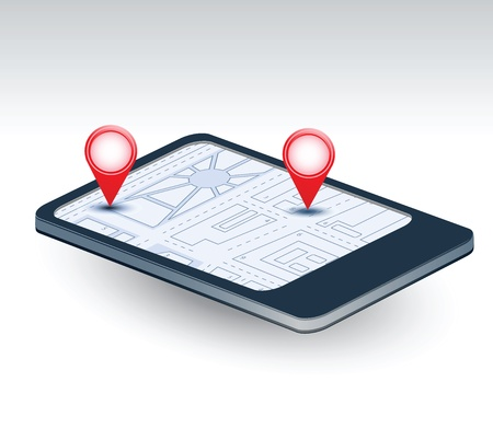 A isometric view of a mobile phone with navigation map Vector