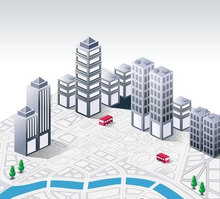 Vector fantasia isometrica sul tema della città Vettoriali