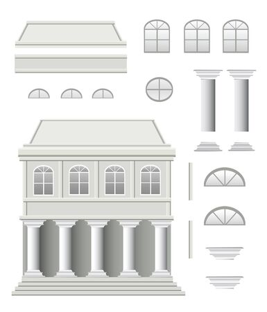 front porch: set of antique house on a white background