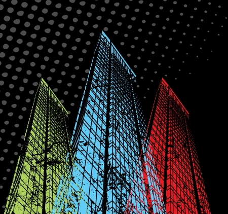 fashion building: Fantasy on the theme of the city on a black background