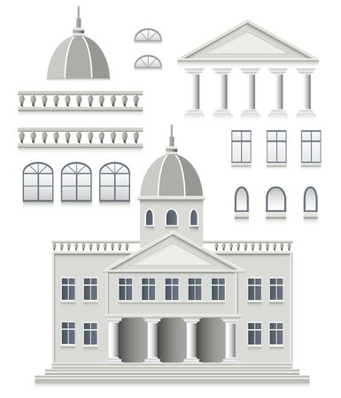 frontage: set of antique house on a white background