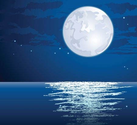 moonlit path on the sea Vector