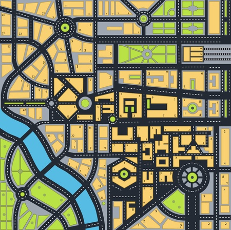 urban area: map of the urban area in various colors