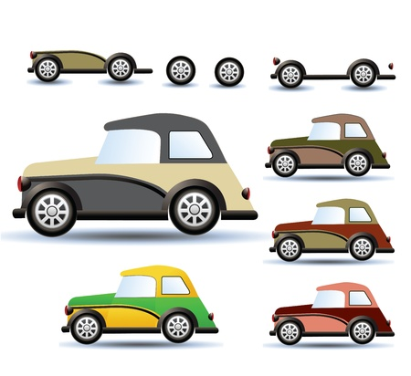mode: Various variants of a car on a white background