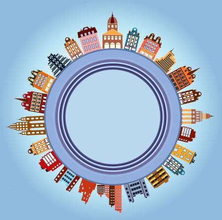 townhouses: Adosados ??en diferentes colores en el fondo del globo Vectores