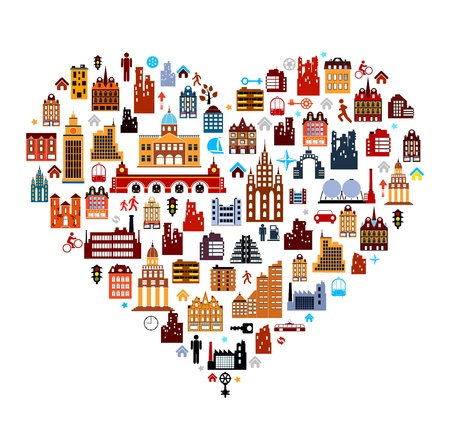 townhouses built as heart on white background