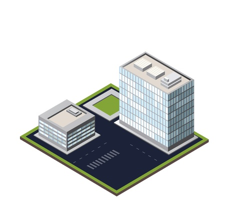 building activity:  city block on a white background Illustration