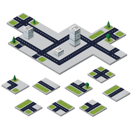Isometric urban elements on a white background Illustration