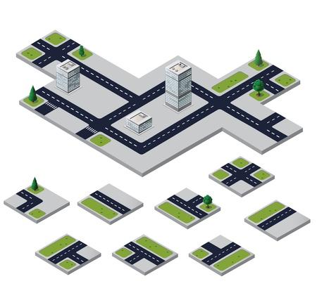 Isometric urban elements on a white background Ilustração