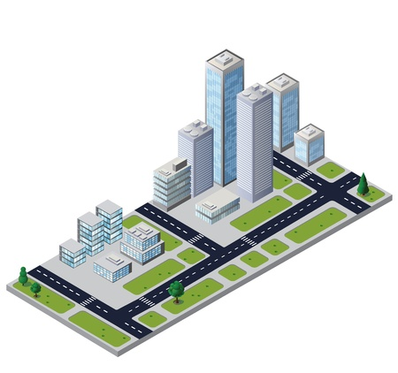 city block with houses and roads Vector