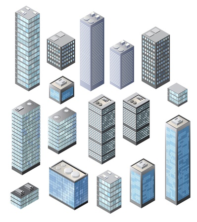 Set of tall buildings in shades of blue on a white background Illustration