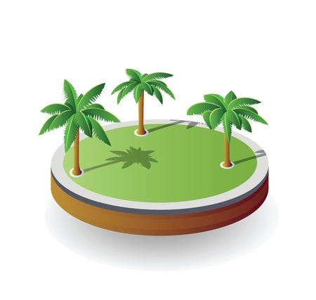 palmtree: Isometric island on a white background