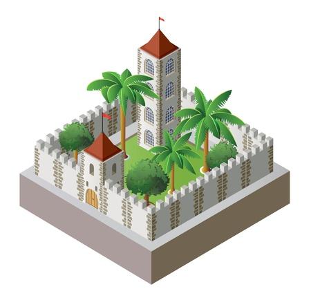 isometric fortress Illustration