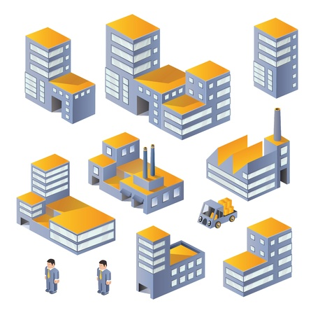 manufactory: Buildings in the isometric Illustration