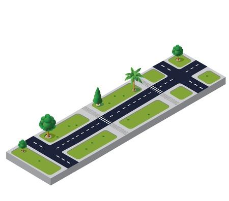 Isometrica vettore stradale con alberi e incroci Vettoriali