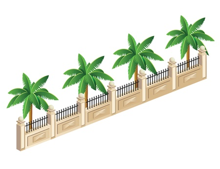 hedge trees: Vector isometric fence with palm trees