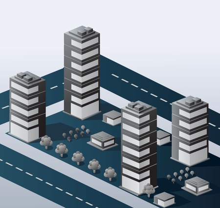 urban area: A perspective view of an urban area on a gray background Illustration