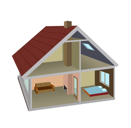 housetop: Isometric vector section of the rural home