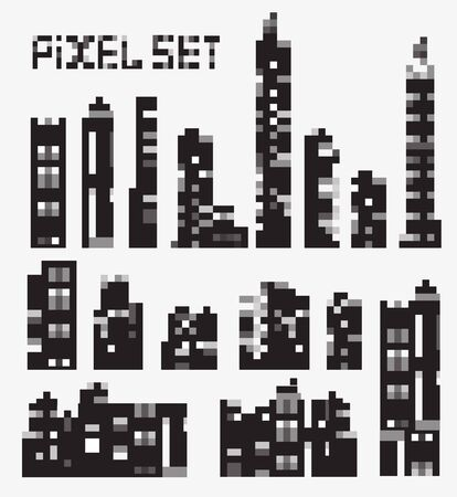 A set of vector pixel buildings Stock Vector - 21051886