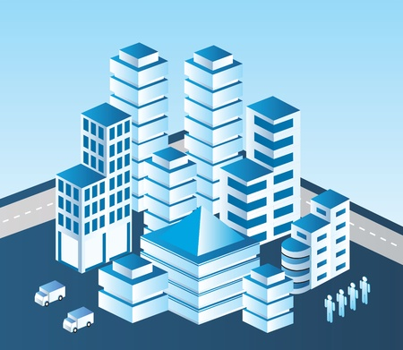 building plans: Isometric vector city in blue tones