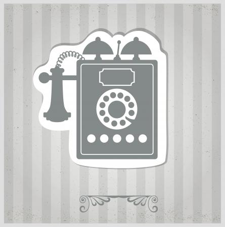 vintage telefoon: De vector vintage telefoon op een grijze achtergrond