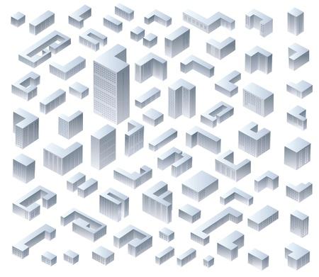 벡터 아이소 메트릭 현대 주택의 설정 일러스트