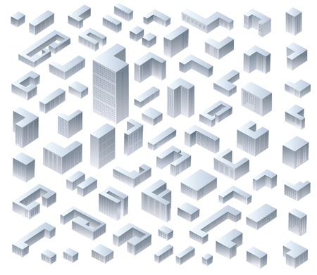 Set of vector isometric modern houses
