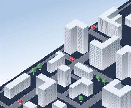 Immagine vettoriale isometrica di una città moderna Archivio Fotografico - 21053528