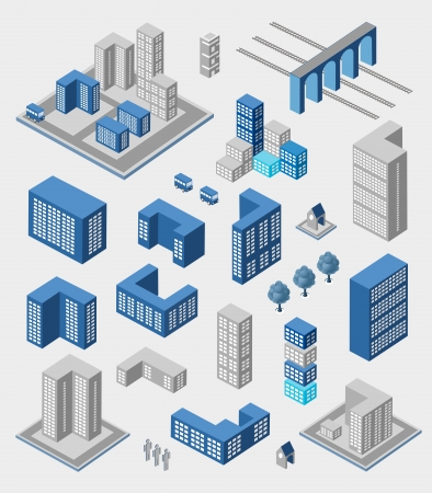 Isometric set of elements for infographics on gray Illustration