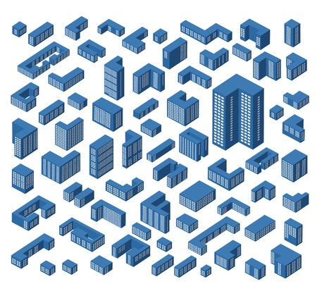 Un grande insieme di vettore edifici isometriche Vettoriali