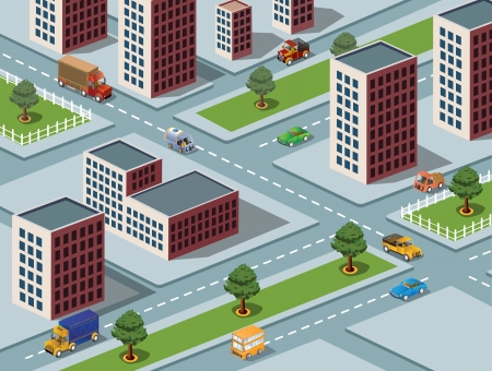 apartment block: Isometric vector image of a modern city