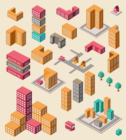 Insieme isometrico di elementi di infografica su giallo Vettoriali